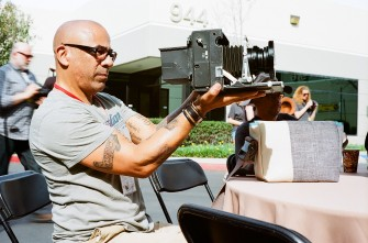 Looking through the large format viewfinder