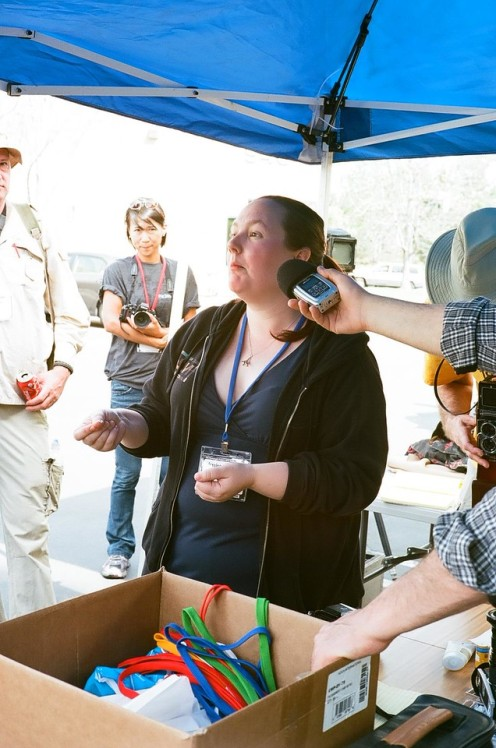 Jessica Reinhardt answering questions about Impossible Project film