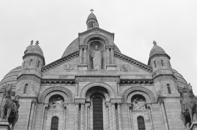 Sacré-Cœur in the Artist's Quarter of Montmartre, Paris, France. Camera: Olypus OM-1MD (1976) Film: Ilford HP5 Plus 400.
