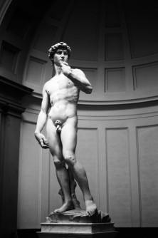 Michelangelo's David, Florence, Italy. Camera: Pentax K1000 (1976 - 1997). Film: Ilford Delta 100 Professional.