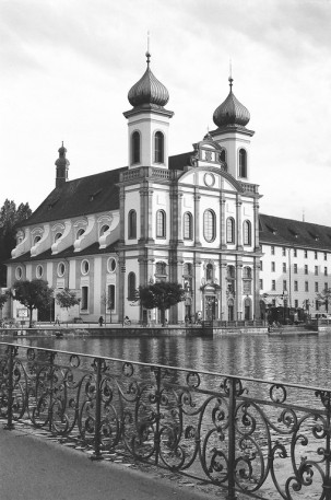 Jesuitenkirche Church, Lucerne, Switzerland. Camera: Pentax K1000 (1976 - 1997). Film: Ilford Delta 100 Professional.