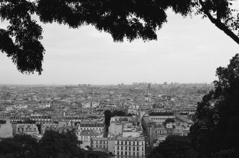 View of Paris from the Artist's Quarter of Montmartre, Paris, France. Camera: Olypus OM-1MD (1976) Film: Ilford HP5 Plus 400.Camera: Olypus OM-1MD (1976) Film: Ilford HP5 Plus 400.