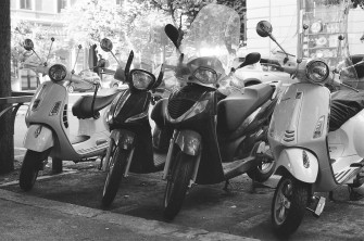 Scooters in Rome, Italy. Camera: Pentax K1000 (1976 - 1997). Film: Ilford Delta 100 Professional.