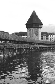 The Kapellbrücke, Lucerne, Switzerland. Camera: Pentax K1000 (1976 - 1997). Film: Ilford Delta 100 Professional.