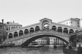 Rialto Bridge, Venice, Italy. Camera: Pentax K1000 (1976 - 1997). Film: Ilford Delta 100 Professional.