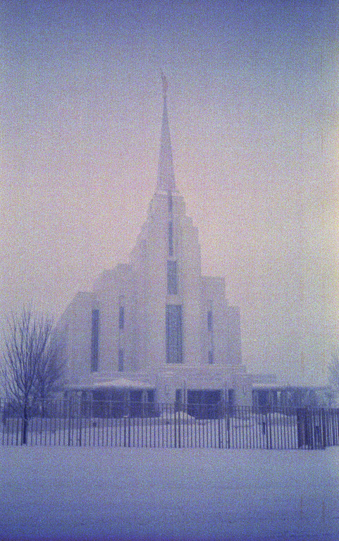 The Church of Jesus Christ of Latter-day Saints Rexburg Idaho Temple (in a blizzard)